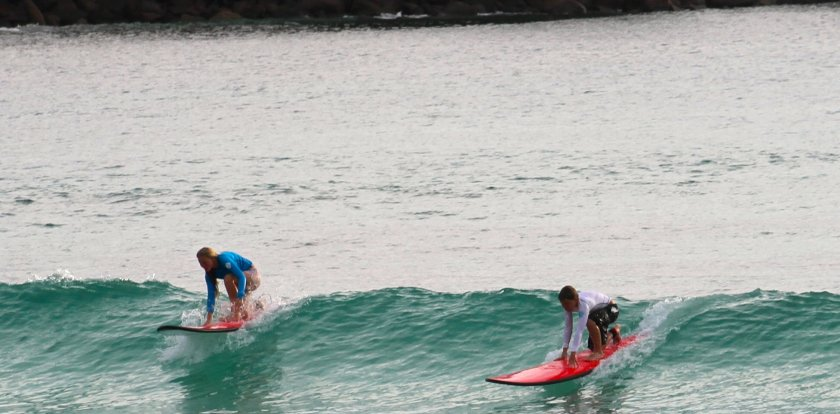 Surfing in Mahe Island
